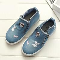 女童帆布鞋春秋季儿童牛仔布鞋侧拉链时尚女学生板鞋