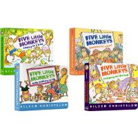 【全店满300减80】Five Little Monkeys 廖彩杏书单英文原版绘本 五只猴子英语绘本纸板书 8本套装 Jumping on the Bed/Sitting in a Tree