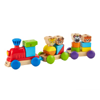 Hape积木组合小火车1-6岁婴幼玩具木制玩具800809