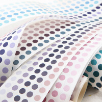 渐变色基础盐系手帐彩色波点圆点和纸胶带整卷圆形贴纸