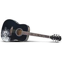 Saysn思雅晨41寸民谣吉他初学者新手入门吉它木吉他贴图黑色魔音套装