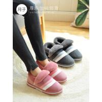 韩版休闲加绒防滑包跟室内棉鞋 新款厚底家居家用月子鞋女产后棉拖鞋