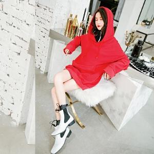长袖秋冬新款连衣裙韩版时尚假两件口袋连帽卫衣短裙子女装潮