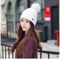 女保暖加厚护耳帽子大毛球纯色毛线针织帽子韩版学生休闲帽子