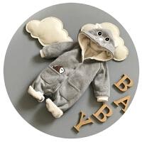新生儿连体衣秋冬宝宝冬装0-1岁婴儿爬爬服加绒加厚百天开衫哈衣6