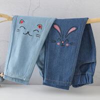 女童牛仔裤小女孩春秋春装洋气宽松大童装儿童长裤子春款