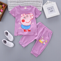 2018夏装衣服0-1-2-3-4岁女宝宝两件套女童套装短袖短裤婴儿童装 紫色 BMH小猪