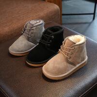 冬季韩版男童鞋真皮宝宝鞋女童防滑加厚加绒棉鞋羊羔毛雪地鞋靴子