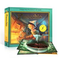 英文原版Pinocchio: Pop-Up Sound Book 匹诺曹 立体书 3-6岁趣味弹出书绘本读物