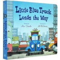 英文原版 Little Blue Truck Leads the Way 儿童启蒙纸板书 蓝色小卡车去引路 交通工具