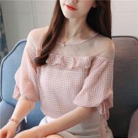 短袖雪纺衫女2018夏装新款韩版网纱拼接气质甜美打底上衣