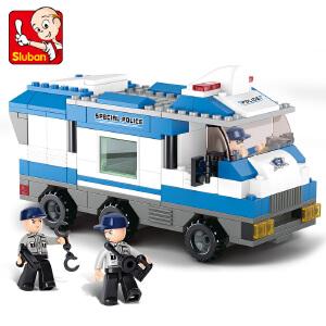 【当当自营】小鲁班城市特警系列儿童益智拼装积木玩具 特警指挥车M38-B0188