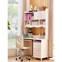 欧式书桌田园书柜实木电脑桌带书架转角书桌组合储物书台