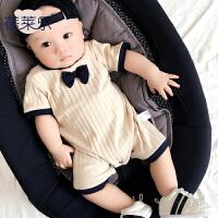 婴儿连体衣服男女宝宝夏季1岁6个月春夏款3短袖哈衣外出服