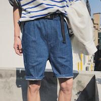 的牛仔短裤男士夏季2018新款港风纯色水心蓝五分裤情侣潮