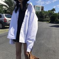 2018新款韩版风衣纯色BF风宽松防晒衬衫男女白色外套上衣秋季女装