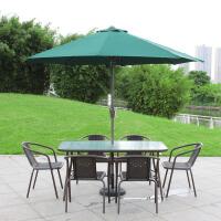 户外桌椅组合带伞室外露天藤椅阳台三五件套休闲外摆铁艺庭院桌椅